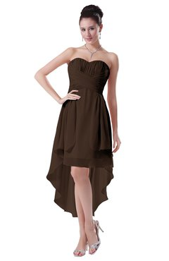 ColsBM Victoria Copper Hawaiian A-line Sleeveless Chiffon Tea Length Ruching Evening Dresses