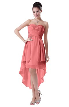 ColsBM Victoria Coral Hawaiian A-line Sleeveless Chiffon Tea Length Ruching Evening Dresses