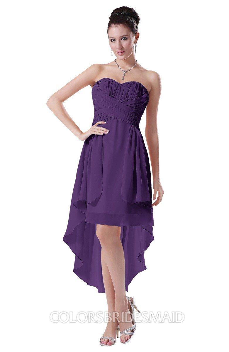 f9f529a966bc ColsBM Victoria Dark Purple Hawaiian A-line Sleeveless Chiffon Tea Length  Ruching Evening Dresses