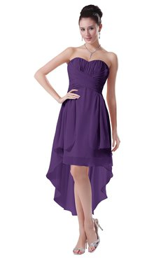ColsBM Victoria Dark Purple Hawaiian A-line Sleeveless Chiffon Tea Length Ruching Evening Dresses