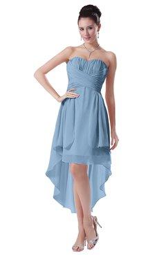 ColsBM Victoria Dusty Blue Hawaiian A-line Sleeveless Chiffon Tea Length Ruching Evening Dresses