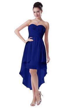 ColsBM Victoria Electric Blue Hawaiian A-line Sleeveless Chiffon Tea Length Ruching Evening Dresses