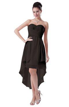 ColsBM Victoria Fudge Brown Hawaiian A-line Sleeveless Chiffon Tea Length Ruching Evening Dresses