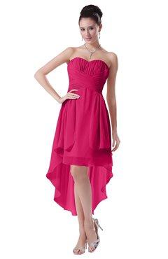 ColsBM Victoria Fuschia Hawaiian A-line Sleeveless Chiffon Tea Length Ruching Evening Dresses