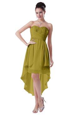 ColsBM Victoria Golden Olive Hawaiian A-line Sleeveless Chiffon Tea Length Ruching Evening Dresses