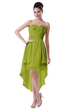 ColsBM Victoria Green Oasis Hawaiian A-line Sleeveless Chiffon Tea Length Ruching Evening Dresses