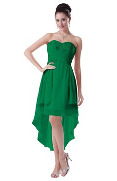 ColsBM Victoria Green Hawaiian A-line Sleeveless Chiffon Tea Length Ruching Evening Dresses