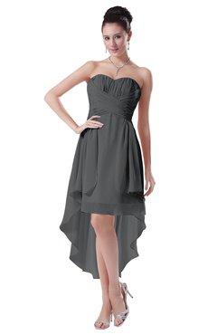 ColsBM Victoria Grey Hawaiian A-line Sleeveless Chiffon Tea Length Ruching Evening Dresses