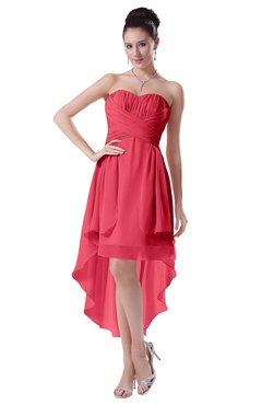 ColsBM Victoria Guava Hawaiian A-line Sleeveless Chiffon Tea Length Ruching Evening Dresses