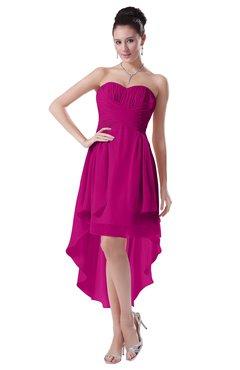 ColsBM Victoria Hot Pink Hawaiian A-line Sleeveless Chiffon Tea Length Ruching Evening Dresses