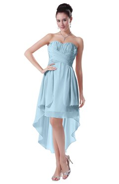 ColsBM Victoria Ice Blue Hawaiian A-line Sleeveless Chiffon Tea Length Ruching Evening Dresses