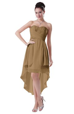 ColsBM Victoria Indian Tan Hawaiian A-line Sleeveless Chiffon Tea Length Ruching Evening Dresses