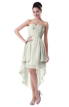 ColsBM Victoria Ivory Hawaiian A-line Sleeveless Chiffon Tea Length Ruching Evening Dresses