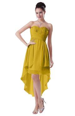 ColsBM Victoria Lemon Curry Hawaiian A-line Sleeveless Chiffon Tea Length Ruching Evening Dresses