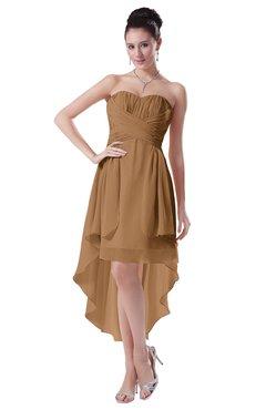 ColsBM Victoria Light Brown Hawaiian A-line Sleeveless Chiffon Tea Length Ruching Evening Dresses