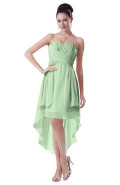 ColsBM Victoria Light Green Hawaiian A-line Sleeveless Chiffon Tea Length Ruching Evening Dresses