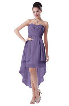 ColsBM Victoria Lilac Hawaiian A-line Sleeveless Chiffon Tea Length Ruching Evening Dresses
