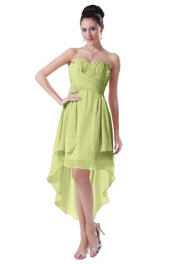 ColsBM Victoria Lime Green Hawaiian A-line Sleeveless Chiffon Tea Length Ruching Evening Dresses