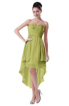 ColsBM Victoria Linden Green Hawaiian A-line Sleeveless Chiffon Tea Length Ruching Evening Dresses
