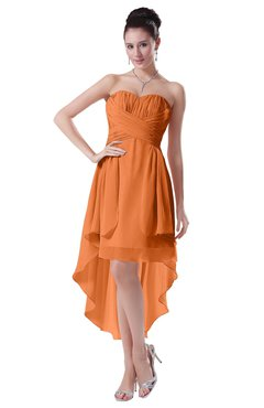 ColsBM Victoria Mango Hawaiian A-line Sleeveless Chiffon Tea Length Ruching Evening Dresses