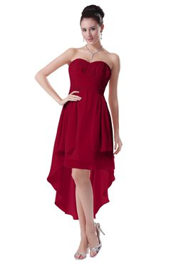 ColsBM Victoria Maroon Hawaiian A-line Sleeveless Chiffon Tea Length Ruching Evening Dresses