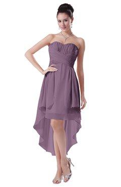 ColsBM Victoria Mauve Hawaiian A-line Sleeveless Chiffon Tea Length Ruching Evening Dresses