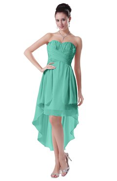 ColsBM Victoria Mint Green Hawaiian A-line Sleeveless Chiffon Tea Length Ruching Evening Dresses