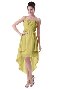 ColsBM Victoria Misted Yellow Hawaiian A-line Sleeveless Chiffon Tea Length Ruching Evening Dresses