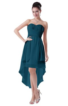 ColsBM Victoria Moroccan Blue Hawaiian A-line Sleeveless Chiffon Tea Length Ruching Evening Dresses