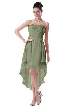 ColsBM Victoria Moss Green Hawaiian A-line Sleeveless Chiffon Tea Length Ruching Evening Dresses