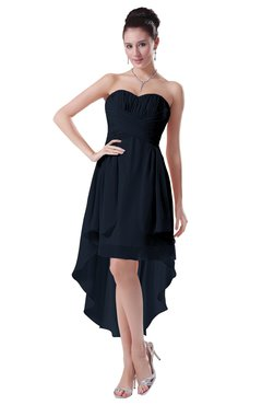 ColsBM Victoria Navy Blue Hawaiian A-line Sleeveless Chiffon Tea Length Ruching Evening Dresses
