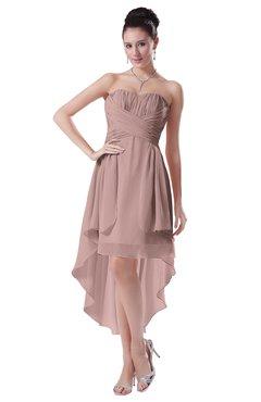 ColsBM Victoria Nectar Pink Hawaiian A-line Sleeveless Chiffon Tea Length Ruching Evening Dresses