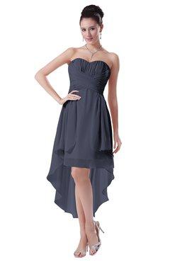 ColsBM Victoria Nightshadow Blue Hawaiian A-line Sleeveless Chiffon Tea Length Ruching Evening Dresses
