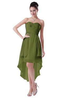 ColsBM Victoria Olive Green Hawaiian A-line Sleeveless Chiffon Tea Length Ruching Evening Dresses