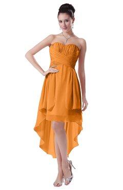 ColsBM Victoria Orange Hawaiian A-line Sleeveless Chiffon Tea Length Ruching Evening Dresses