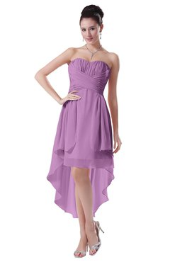 ColsBM Victoria Orchid Hawaiian A-line Sleeveless Chiffon Tea Length Ruching Evening Dresses