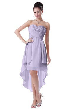 ColsBM Victoria Pastel Lilac Hawaiian A-line Sleeveless Chiffon Tea Length Ruching Evening Dresses