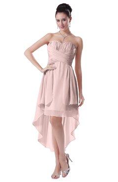 ColsBM Victoria Pastel Pink Hawaiian A-line Sleeveless Chiffon Tea Length Ruching Evening Dresses