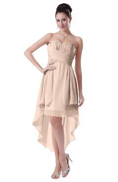 ColsBM Victoria Peach Puree Hawaiian A-line Sleeveless Chiffon Tea Length Ruching Evening Dresses