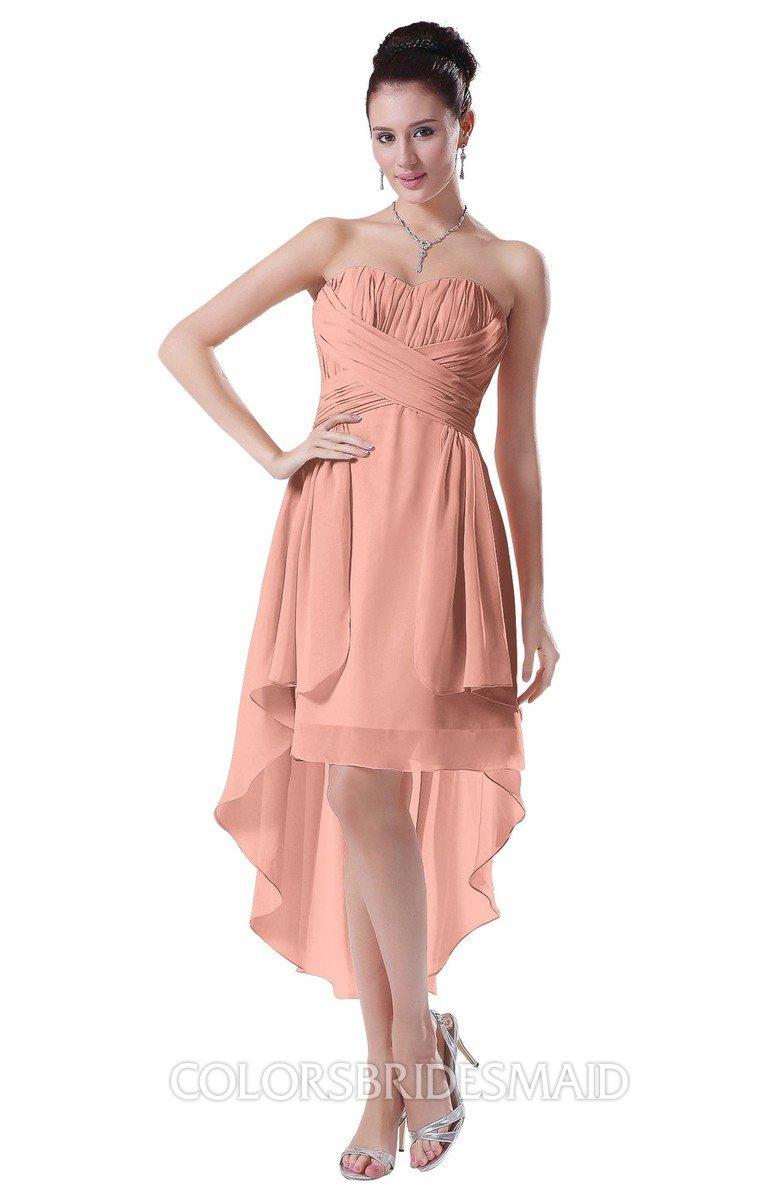 c0a391811465 ColsBM Victoria Peach Hawaiian A-line Sleeveless Chiffon Tea Length Ruching  Evening Dresses