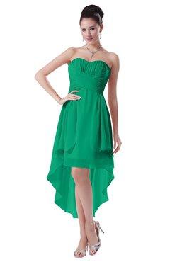 ColsBM Victoria Pepper Green Hawaiian A-line Sleeveless Chiffon Tea Length Ruching Evening Dresses