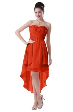 ColsBM Victoria Persimmon Hawaiian A-line Sleeveless Chiffon Tea Length Ruching Evening Dresses