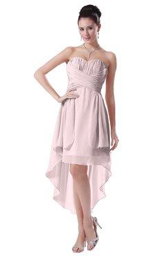 ColsBM Victoria Petal Pink Hawaiian A-line Sleeveless Chiffon Tea Length Ruching Evening Dresses