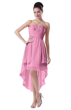ColsBM Victoria Pink Hawaiian A-line Sleeveless Chiffon Tea Length Ruching Evening Dresses