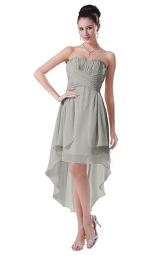 ColsBM Victoria Platinum Hawaiian A-line Sleeveless Chiffon Tea Length Ruching Evening Dresses