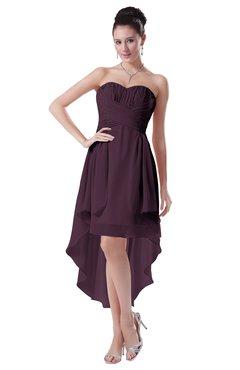 ColsBM Victoria Plum Hawaiian A-line Sleeveless Chiffon Tea Length Ruching Evening Dresses