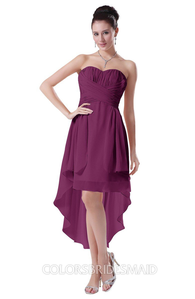 b79eb81581f ColsBM Victoria Raspberry Hawaiian A-line Sleeveless Chiffon Tea Length Ruching  Evening Dresses