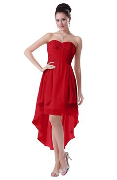 ColsBM Victoria Red Hawaiian A-line Sleeveless Chiffon Tea Length Ruching Evening Dresses