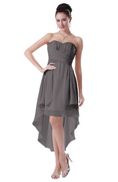 ColsBM Victoria Ridge Grey Hawaiian A-line Sleeveless Chiffon Tea Length Ruching Evening Dresses