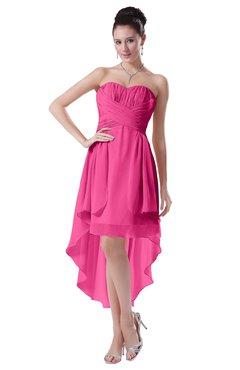 ColsBM Victoria Rose Pink Hawaiian A-line Sleeveless Chiffon Tea Length Ruching Evening Dresses